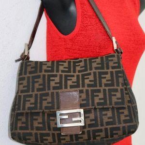 FENDI Zucca canvas leather shoulder handbag Italy